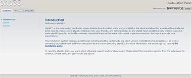 Страница инсталляции форума на основе phpBB третьей версии